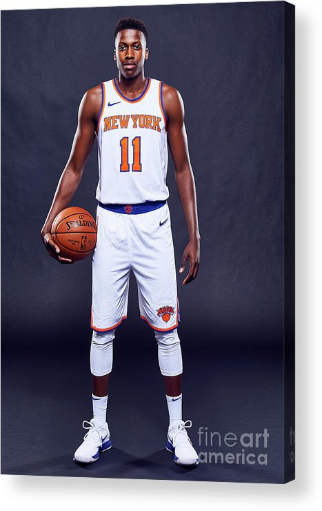 Media Day Acrylic Print featuring the photograph Frank Ntilikina by Jennifer Pottheiser