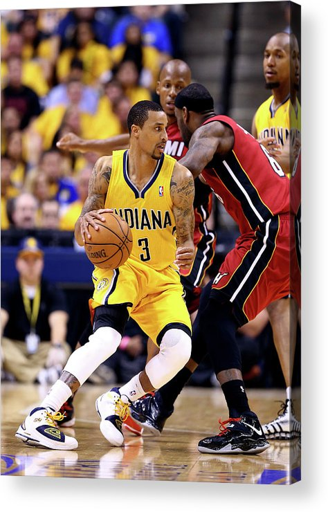 Playoffs Acrylic Print featuring the photograph George Hill and Lebron James by Andy Lyons