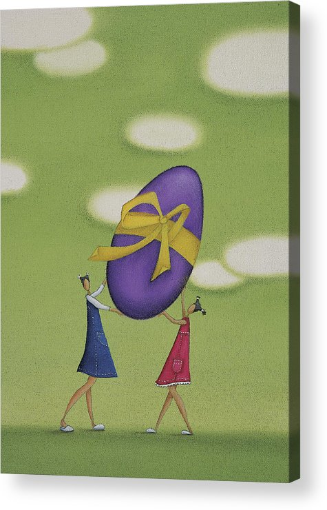White Acrylic Print featuring the drawing Girls Holding a Large Easter Egg by Mandy Pritty