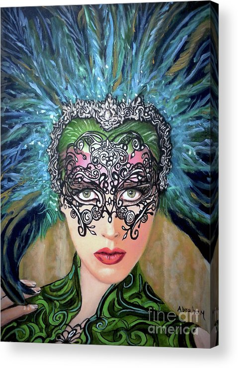 Party Acrylic Print featuring the painting Guess by Jose Manuel Abraham