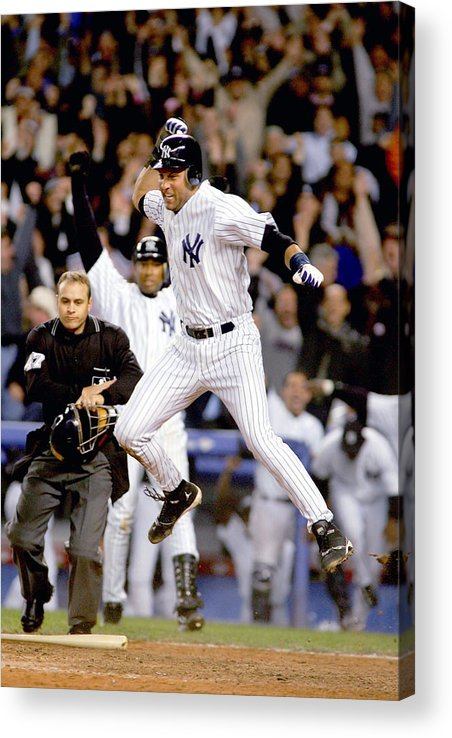 Game Two Acrylic Print featuring the photograph Hideki Matsui and Derek Jeter by Al Bello