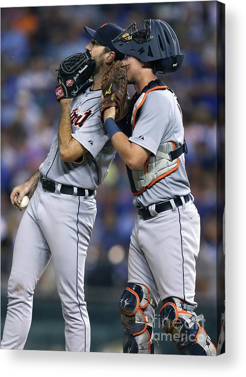 American League Baseball Acrylic Print featuring the photograph James Mccann and Justin Verlander by Ed Zurga