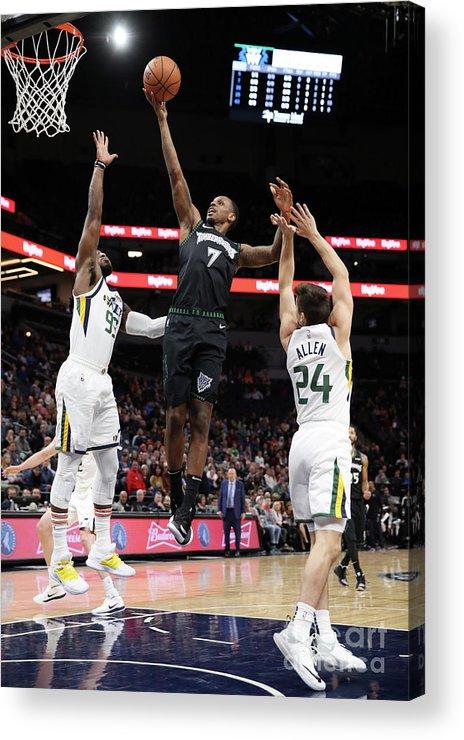 Nba Pro Basketball Acrylic Print featuring the photograph James Nunnally and Jae Crowder by Jordan Johnson