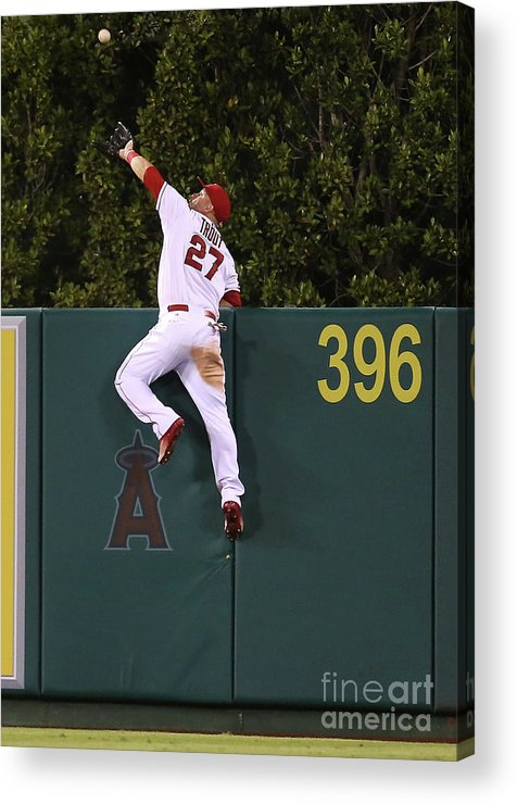 People Acrylic Print featuring the photograph Jesus Montero and Mike Trout by Stephen Dunn