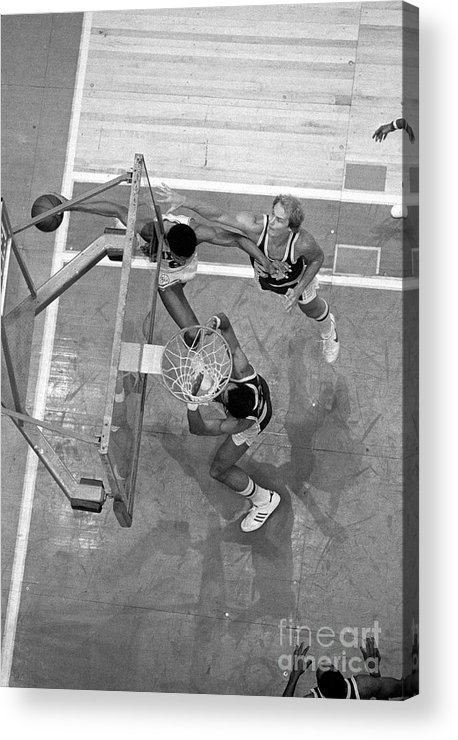 Playoffs Acrylic Print featuring the photograph Julius Erving and Kareem Abdul-jabbar by Jim Cummins
