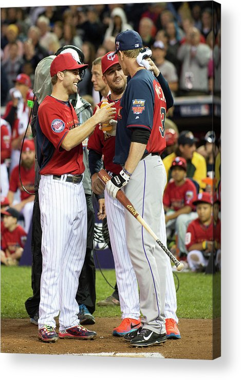 American League Baseball Acrylic Print featuring the photograph Justin Morneau, Glen Perkins, and Brian Dozier by Ron Vesely