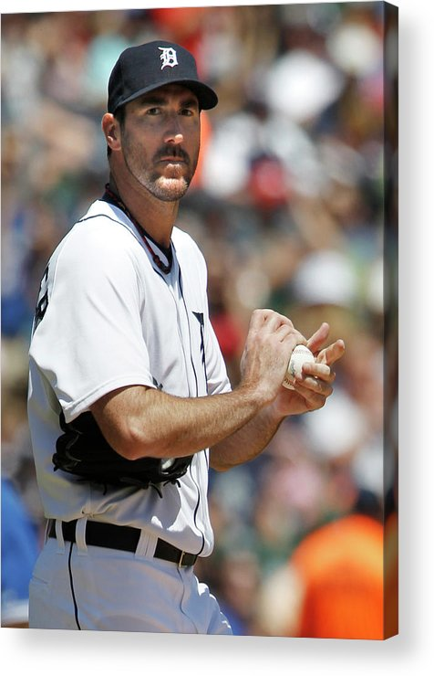 Working Acrylic Print featuring the photograph Justin Verlander and Juan Francisco by Duane Burleson