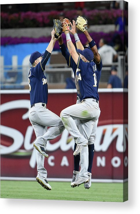 People Acrylic Print featuring the photograph Keon Broxton and Ryan Braun by Denis Poroy