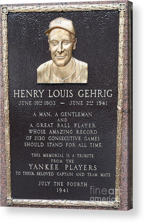 American League Baseball Acrylic Print featuring the photograph Lou Gehrig by Jim Mcisaac