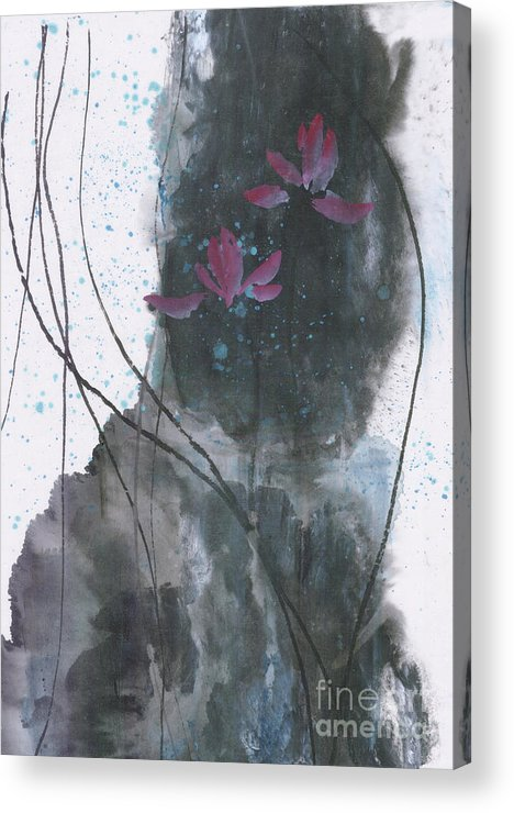 Lotus Emerged Out Of The Sludge Acrylic Print featuring the painting Lovely Lotus by Mui-Joo Wee