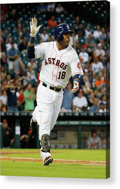 People Acrylic Print featuring the photograph Luis Valbuena by Scott Halleran