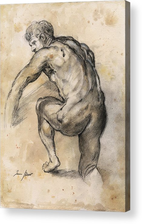 Nude Art Acrylic Print featuring the painting Male nude drawing by Juan Bosco
