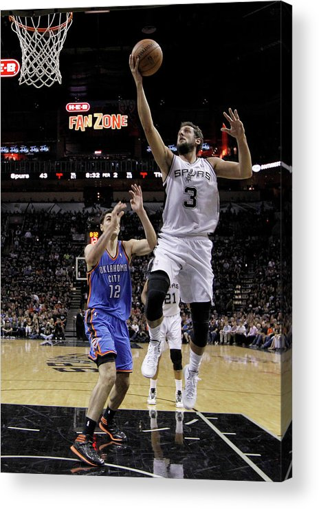 Playoffs Acrylic Print featuring the photograph Marco Belinelli and Steven Adams by Chris Covatta
