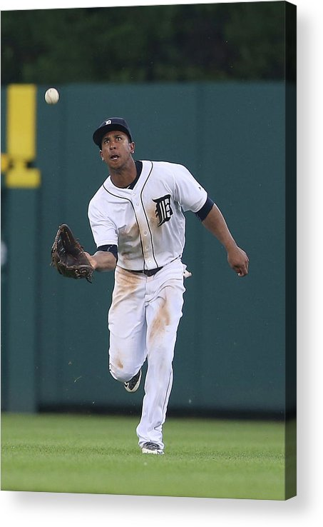 People Acrylic Print featuring the photograph Michael Bourn and Anthony Gose by Leon Halip