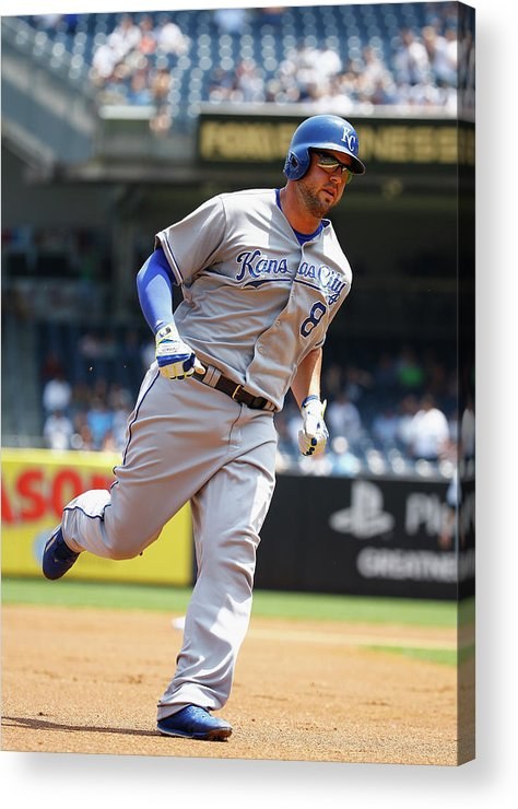 People Acrylic Print featuring the photograph Mike Moustakas and Michael Pineda by Al Bello