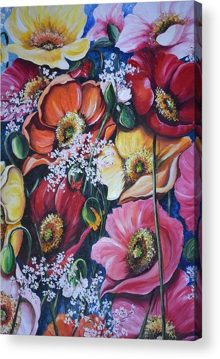 Poppies Acrylic Print featuring the painting Poppies Delight by Karin Dawn Kelshall- Best