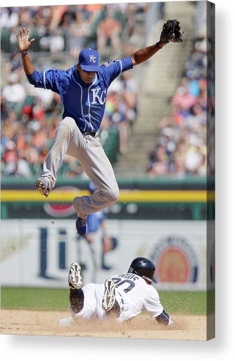 People Acrylic Print featuring the photograph Rajai Davis and Alcides Escobar by Duane Burleson