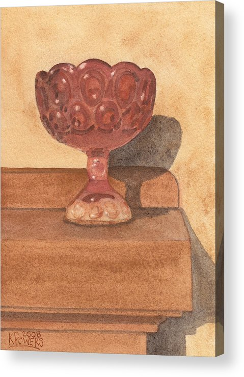 Chalice Acrylic Print featuring the painting Red Chalice by Ken Powers