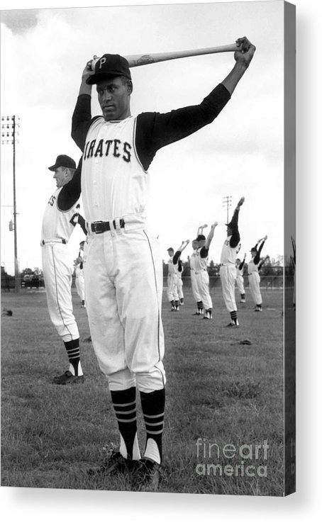 1950-1959 Acrylic Print featuring the photograph Roberto Clemente by National Baseball Hall Of Fame Library