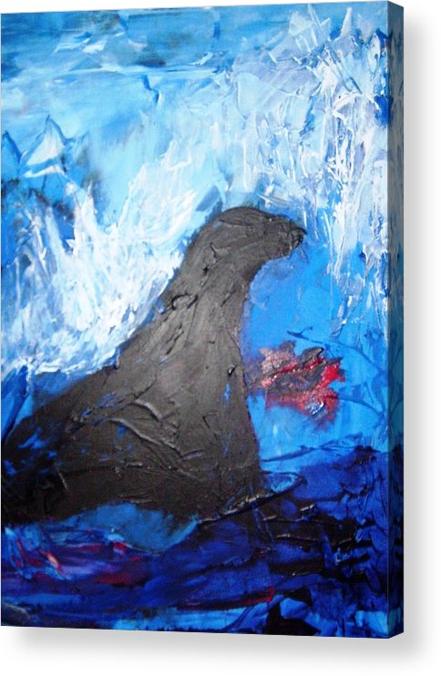 Seal Acrylic Print featuring the painting Seals. They Have No Children by Bruce Combs - REACH BEYOND