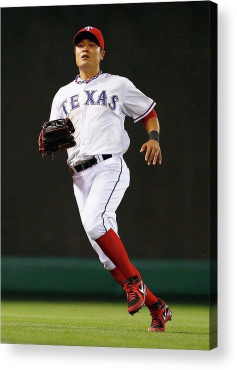 American League Baseball Acrylic Print featuring the photograph Shin-soo Choo by Tom Pennington