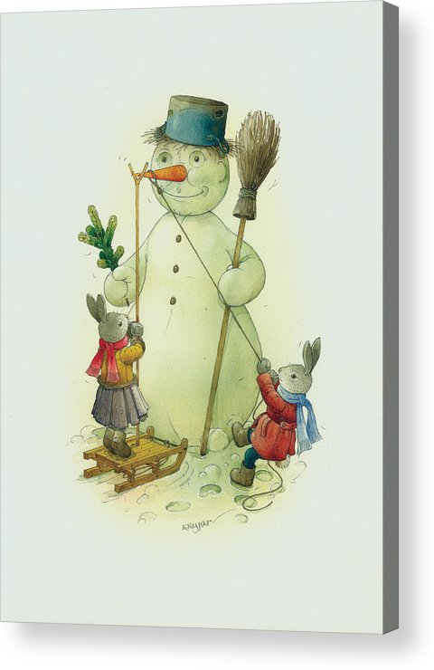 Christmas Snowman Winter Rabbit White Holiday Acrylic Print featuring the painting Snowmann and Rabbits by Kestutis Kasparavicius