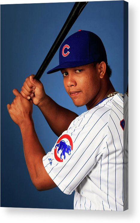 Media Day Acrylic Print featuring the photograph Starlin Castro by Jamie Squire