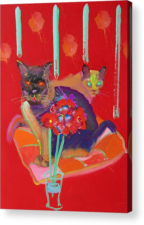 Burmese Cat Acrylic Print featuring the painting Symphony In Red Two by Charles Stuart