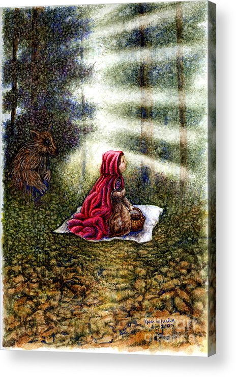 Girl In Forest Acrylic Print featuring the painting The Fate of Little Red Riding Hood Part Two by Karen Wheeler