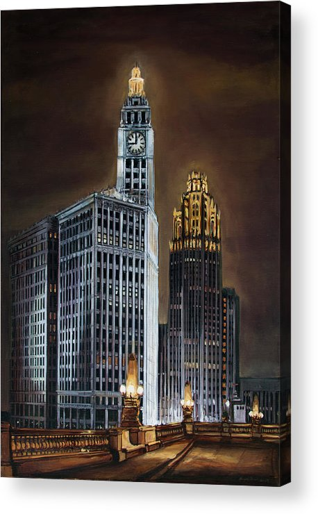 The Wrigley Building And Tribune Tower Viewed From Wacker Drive Approaching Michigan Avenue. Acrylic Print featuring the painting The Wrigley Building and Tribune Tower by Christopher Buoscio