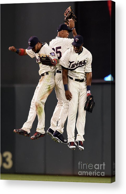People Acrylic Print featuring the photograph Torii Hunter, Byron Buxton, and Eddie Rosario by Hannah Foslien