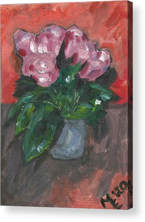 Rose Acrylic Print featuring the painting Vase of Roses by Monica Resinger