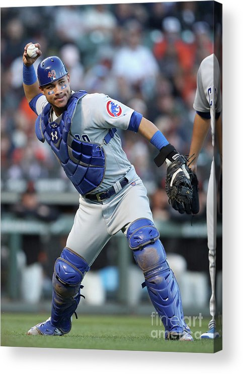 San Francisco Acrylic Print featuring the photograph Willson Contreras and Nick Hundley by Ezra Shaw