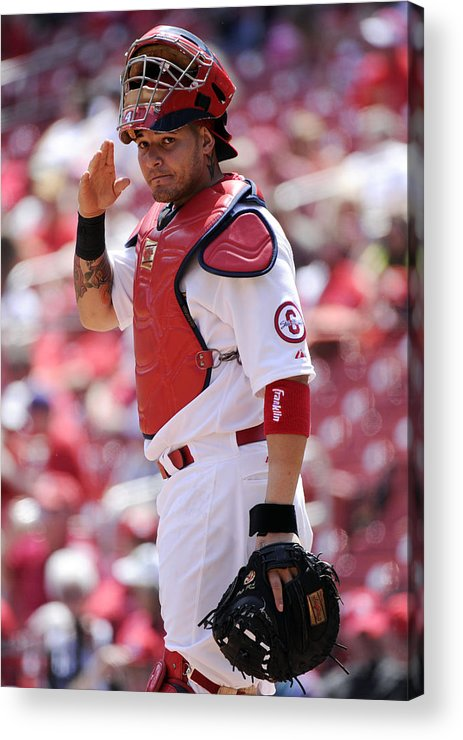 St. Louis Cardinals Acrylic Print featuring the photograph Yadier Molina by Ron Vesely