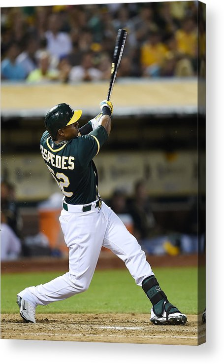 Yoenis Cespedes Acrylic Print featuring the photograph Yoenis Cespedes and John Jaso by Thearon W. Henderson