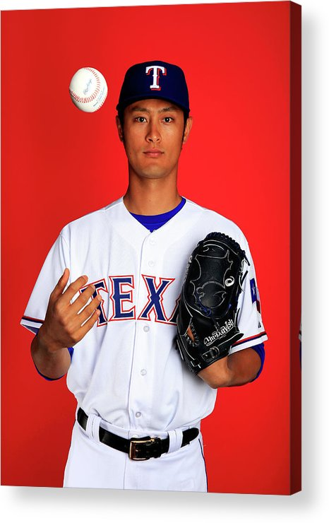 Media Day Acrylic Print featuring the photograph Yu Darvish by Jamie Squire