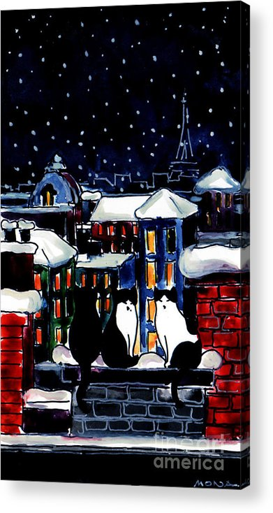 Paris Cats Acrylic Print featuring the painting Paris Cats by Mona Edulesco