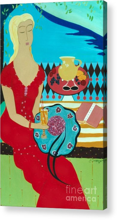 #female Acrylic Print featuring the painting Summers Day by Jacquelinemari