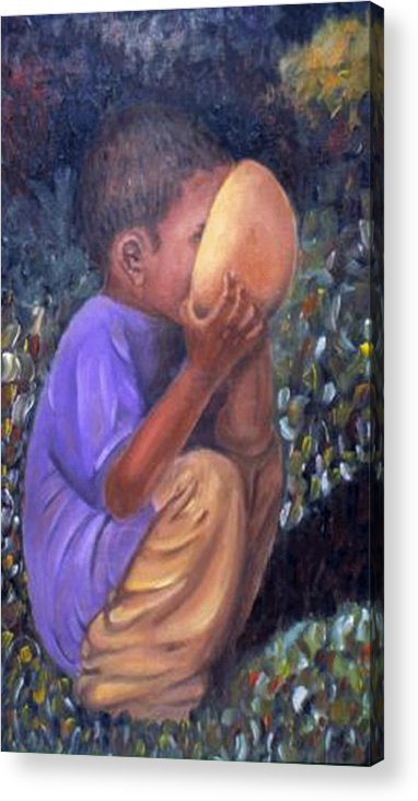 Portrait Acrylic Print featuring the painting Drinking boy by Alima Newton