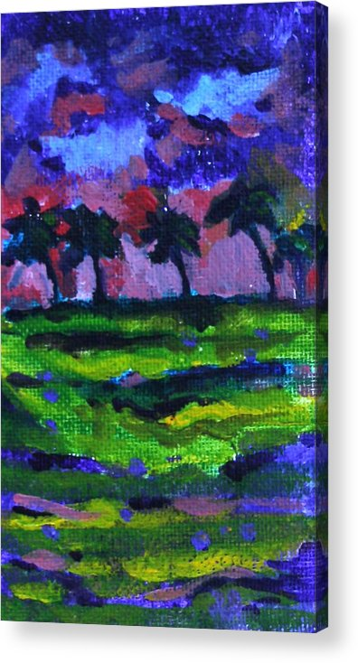 Blue Acrylic Print featuring the painting Palm Trees Redux by Jan Bennicoff