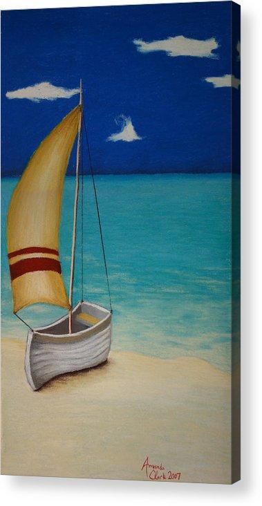 Boat Acrylic Print featuring the pastel Sailors Solitude by Amanda Clark