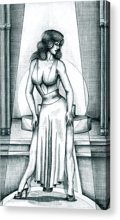 Figure Acrylic Print featuring the drawing The Performer by Scarlett Royal