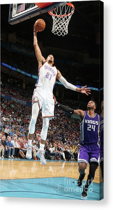 Nba Pro Basketball Acrylic Print featuring the photograph Sacramento Kings V Oklahoma City Thunder by Layne Murdoch