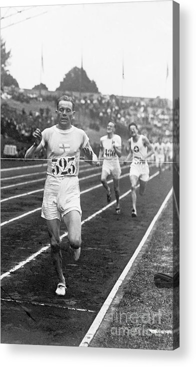 The Olympic Games Acrylic Print featuring the photograph Paavo Nurmi Winning Olympic Track Race by Bettmann