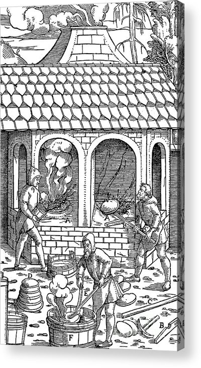Working Acrylic Print featuring the drawing Refining Copper Removing Cakes by Print Collector