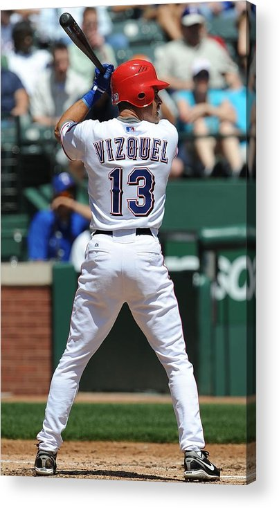 American League Baseball Acrylic Print featuring the photograph Cleveland Indians v Texas Rangers by Ronald Martinez