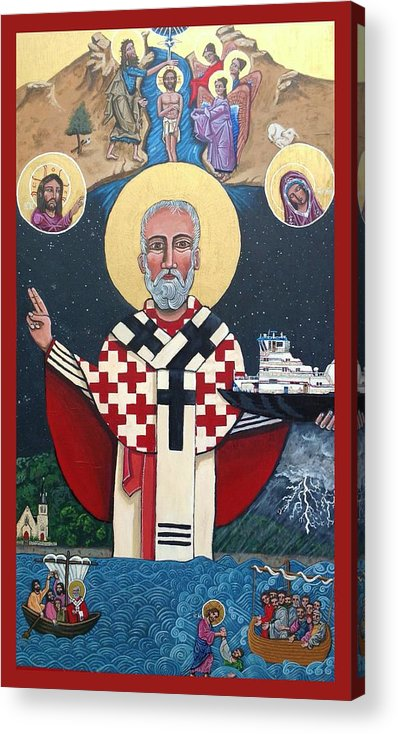 Acrylic Print featuring the painting St. Nicholas Patron of Mariners by Kelly Latimore