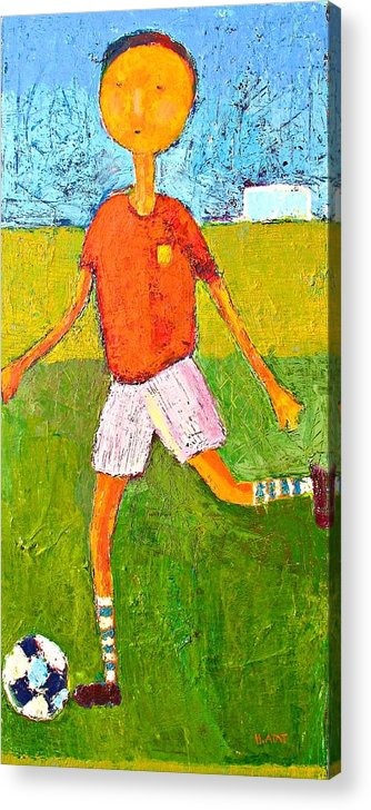 Painting Of Children Acrylic Print featuring the painting Little soccer player by Habib Ayat