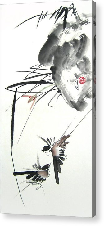 Free Style Chinese Painting Acrylic Print featuring the painting Waltzing At Dawn by Ming Yeung