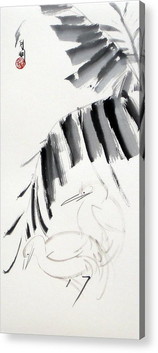 Chinese Painting Acrylic Print featuring the painting Searching for food by Ming Yeung